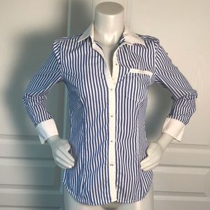 ZARA BLUE & WHITE STRIPE BUTTON UP DRESS SHIRT